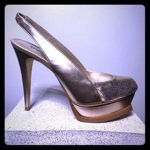 BeBe Zahara Gold Glitter Heel Size 7 - NIB